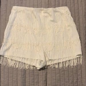 Missguided White fringe shorts